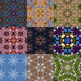 Set of kaleidoscopic seamless generated textures Stock Photography