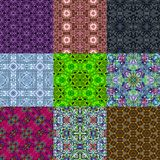 Set of kaleidoscopic seamless generated textures Royalty Free Stock Photo