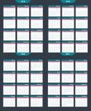 Set kalendarzowy wektorowy szablon 2018-2020 Zdjęcie Stock