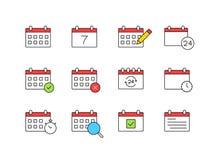 Set Kalenderikonen Zeit und Jahreszeiten Tag, Woche, Monate, Jahr Auch im corel abgehobenen Betrag lizenzfreie abbildung