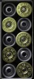 Set 12 kaliberów flinty pocisk łuska w kartonie Obraz Stock