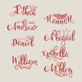 Set kaligraficzni imiona Obrazy Stock