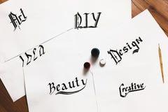 Set kaligraficzni inspiracyjni słowa Zdjęcie Royalty Free