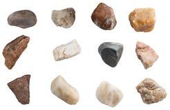 Set kamienie odizolowywający na białym tle Fotografia Stock