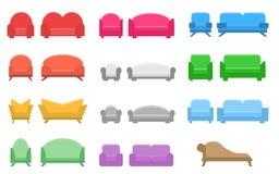 Set kanapy i krzes?a, p?aska ikona royalty ilustracja