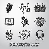 Set of karaoke singing freehand icons - microphone Royalty Free Stock Photography