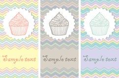 Set karciani szablony z tortami Obrazy Royalty Free