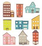 Set Karikatur-Häuser Vektorzeichnung von Retro- Gebäuden Lizenzfreie Stockfotos