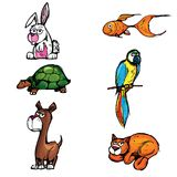 Set Karikaturhaustiere Stockfoto