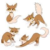 Set Karikaturkatzen Sammlung nette rote Katzen Haustiere mit Gefühlen Spielen der Tiere Abbildung für Kinder Lizenzfreies Stockfoto