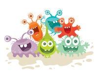Set Karikaturmonster Lustige lächelnde Mikroben stock abbildung