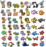 Set Karikaturtiere, Vektor Lizenzfreie Stockfotos