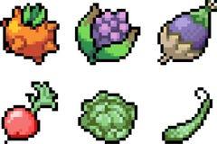 Set karmowe ikony w piksla stylu Obraz Stock