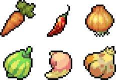 Set karmowe ikony w piksla stylu Obraz Royalty Free