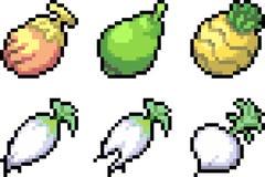 Set karmowe ikony w piksla stylu Obrazy Stock