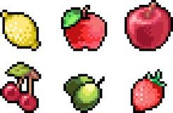 Set karmowe ikony w piksla stylu Zdjęcie Stock