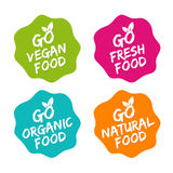 Set karmowe odznaki Weganin, Organicznie, Naturalny, i świeża żywność Wektorowa ręka rysujący znaki Zdjęcie Royalty Free