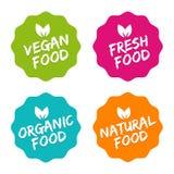 Set karmowe odznaki Weganin, Organicznie, Naturalny, i świeża żywność Wektorowa ręka rysujący znaki Może używać dla pakować proje royalty ilustracja