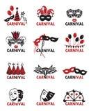 Set karnawałowi logowie Obrazy Royalty Free