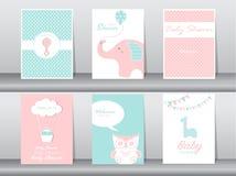 Set karta, urodziny, wakacje, zwierzęta, sowa, słoń, żyrafa i kaczka powitania i zaproszenia, Kreskówka, ilustracja Obraz Royalty Free