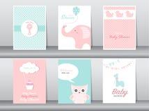 Set karta, urodziny, wakacje, zwierzęta, sowa, słoń, żyrafa i kaczka powitania i zaproszenia, Kreskówka, ilustracja Obrazy Stock