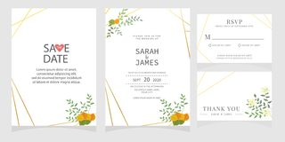 Set karta z kwiat różą, liście Kwiecisty plakat, zaprasza Ślubny ornamentu pojęcie Ślubny zaproszenie karty szablon obrazy stock