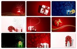 Set Karten mit Geschenken Lizenzfreie Stockbilder