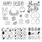 Set kartka z pozdrowieniami bezszwowi wzory z Easter jajkami doodles również zwrócić corel ilustracji wektora Zdjęcia Stock