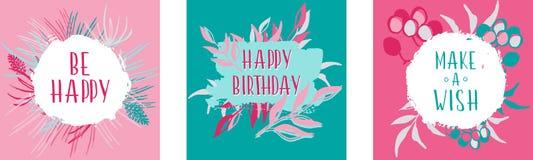Set 3 kartka z pozdrowieniami dla gratulacj na urodziny Zdjęcia Royalty Free