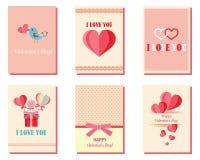 Set kartka z pozdrowieniami dla walentynki ` s dnia z sercami Menchie, biel, turkus Prezentów szablony serca malujący Projekt Obraz Royalty Free