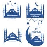 Set kartka z pozdrowieniami społeczności Muzułmańscy holydays: Eid al Obrazy Royalty Free