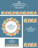 Set kartki bożonarodzeniowa z starym miasteczkiem Fotografia Royalty Free