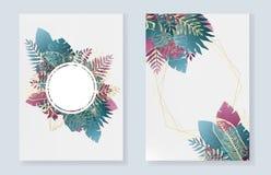Set kartki z pozdrowieniami z błękitnymi tropikalnymi liśćmi ilustracja wektor