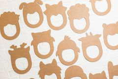 Set karton maski na białym ściana z cegieł Obraz Stock