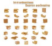 Set kartony również zwrócić corel ilustracji wektora Obrazy Stock