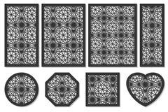 Set karty ciąć Wektorów panel dla laserowego rozcięcia Współczynnik Fotografia Stock