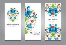 Set karty lub sztandaru projekt, ethno kwiecisty ornament Zdjęcia Royalty Free