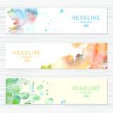 Set karty z akwareli pluśnięciami Abstrakt Zdjęcie Royalty Free