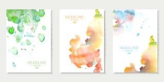 Set karty z akwareli pluśnięciami Abstrakt Fotografia Stock