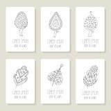 Set karty z doodle drzewami, kwiaty, owoc Obraz Stock