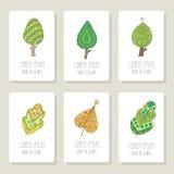 Set karty z doodle drzewami, kwiaty, owoc Zdjęcia Stock