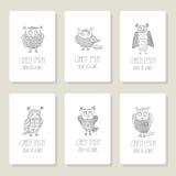 Set karty, zaproszenie z ręka rysującym wektorem Zdjęcie Stock