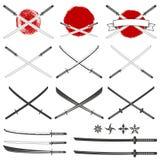 Set of the katana swords. Royalty Free Stock Photography