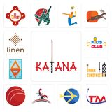 Set of katana, trademark, sagittarius, scorpion, cricket ball, under construction, ap, kids club, linen icons. Set Of 13 simple editable icons such as katana Stock Photography