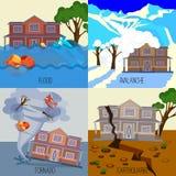 Set katastrofa naturalna sztandary tornado, trzęsienie ziemi, lawina, powódź Obraz Stock
