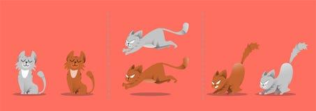 Set Katzehaltungen Kätzchenspiele, Sprünge vektor abbildung