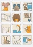 Set Katzen - Tierkreis-Symbole Stockbilder