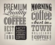 Set kawa, cukierniani typograficzni elementy royalty ilustracja