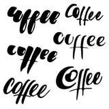 Set kawa logowie i etykietki 6 elementów Kaligrafia, ręki literowanie Obrazy Stock