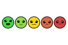 Set of kawai emoji. Emoticons. Cute colorful faces. Rating. Customer feedback. Vector illustration. Isolated on white background stock illustration
